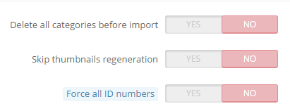 prestashop import option