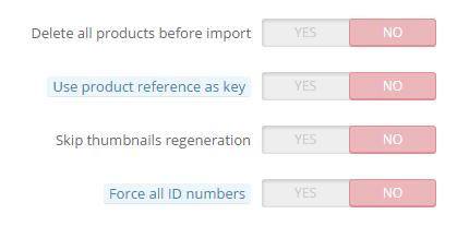 prestashop import csv with options