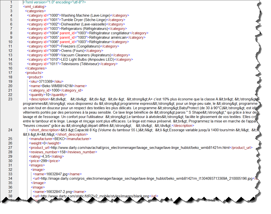 Sample of XML file for import