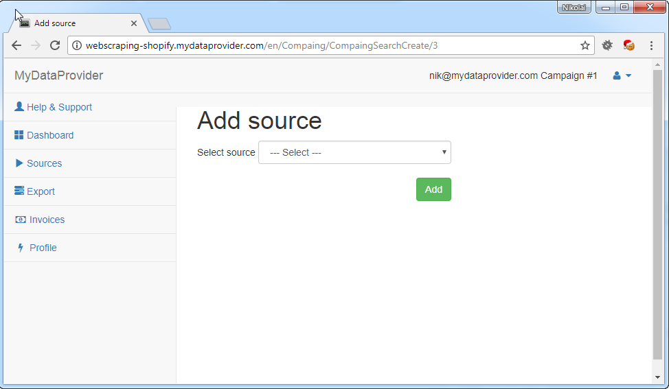 How to add Source for web scraping service
