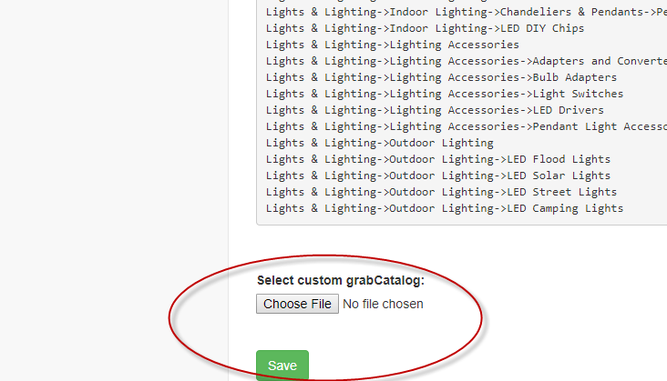 Example of config file with start urls for web scraping service