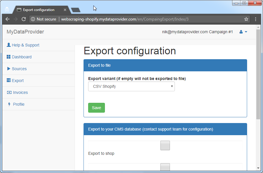 How to export to file or to online store from web scraping service