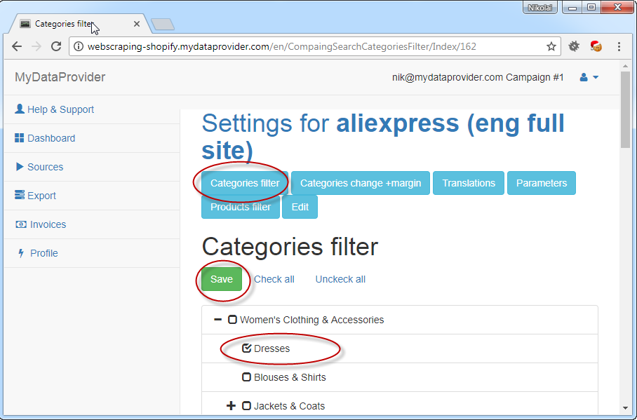 How to check Categories for Source of web scraping service