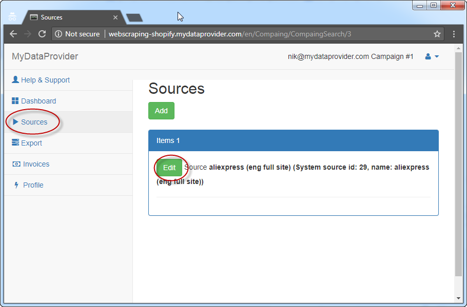 How to select Categories for Source for web scraping service