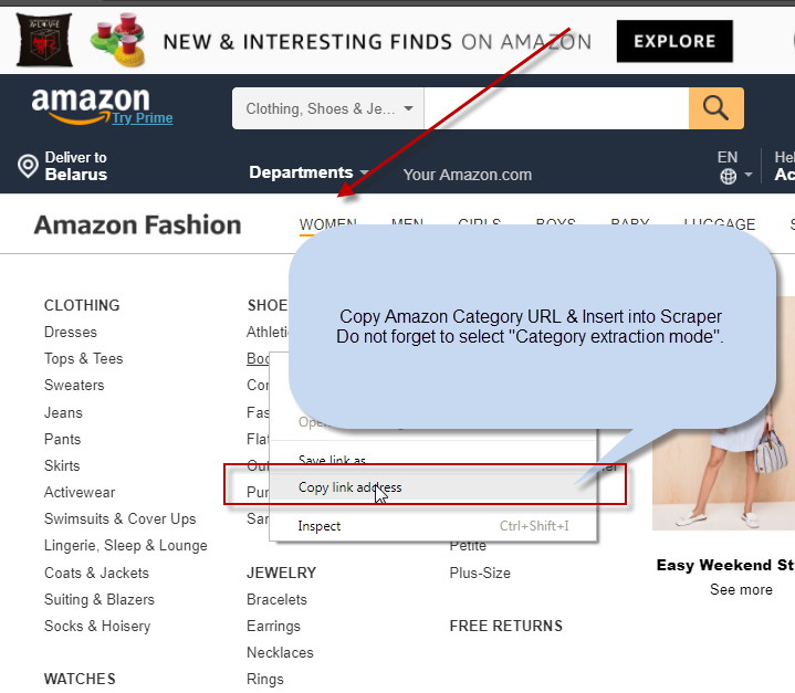 amazon product scraper : by category url